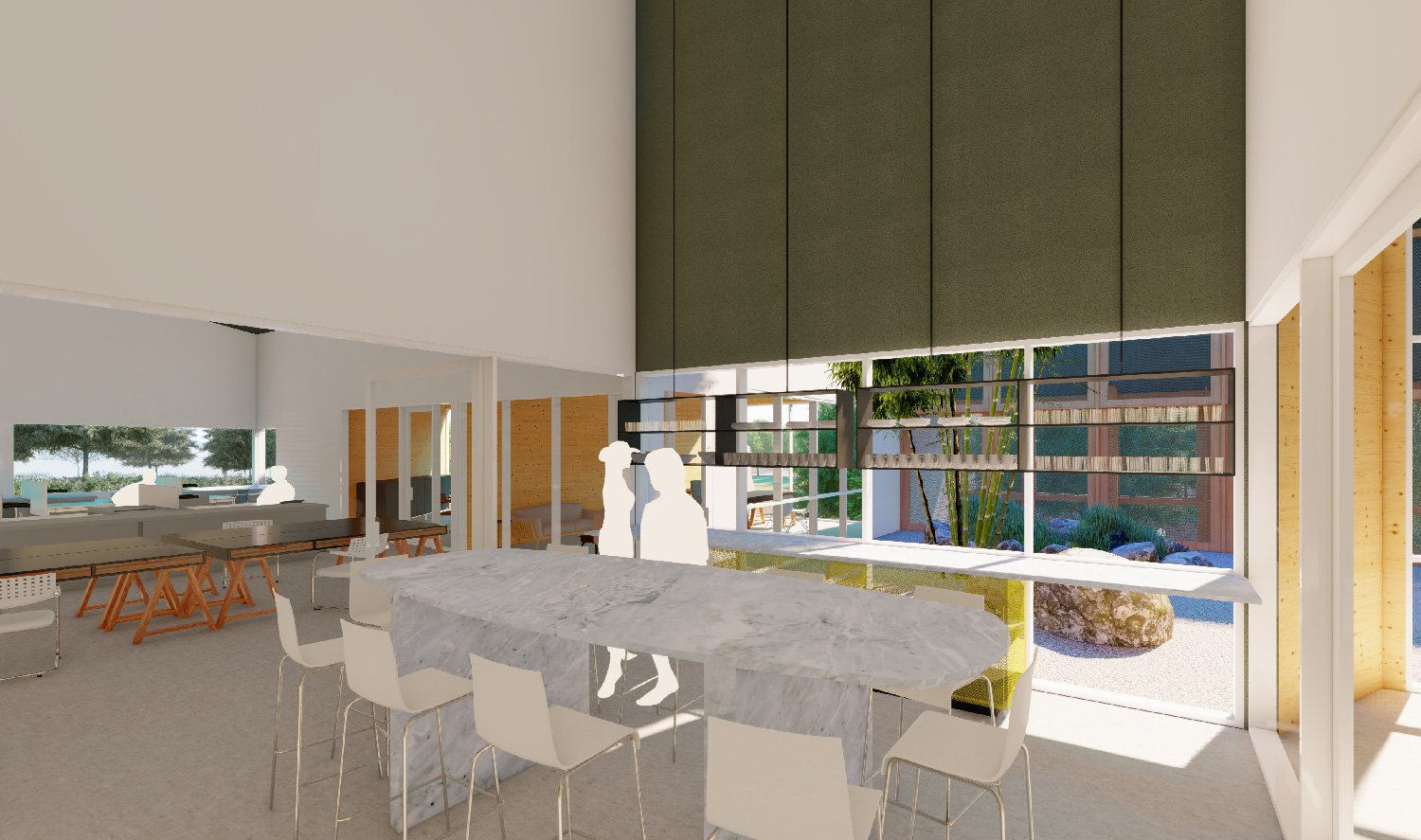 Interior spaces have equitable access to views, natural light and ventilation. University of Arkansas Community Design Center}