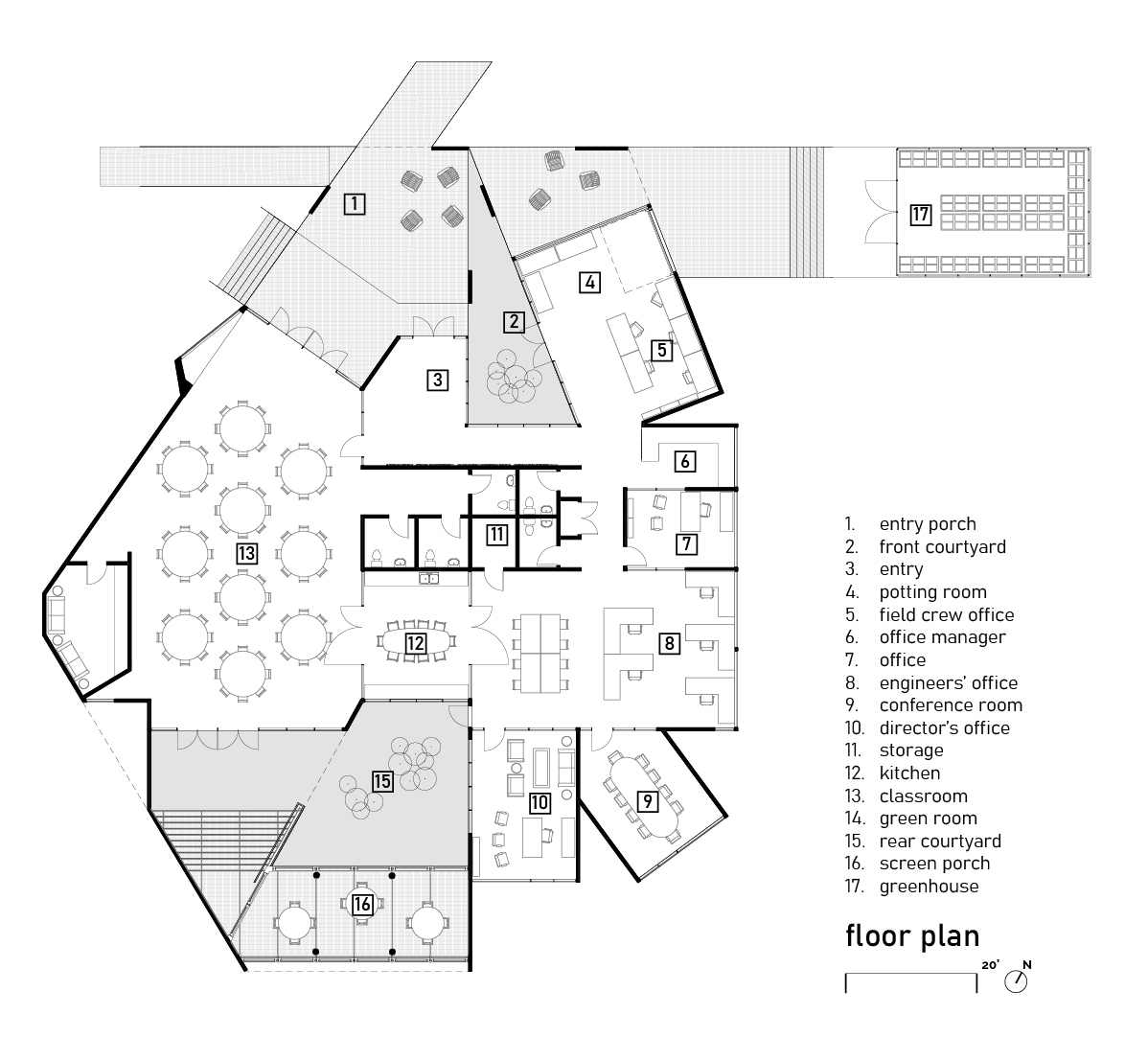 Courtyards align in a seam that connects yet distinguishes work and public education functions. University of Arkansas Community Design Center}