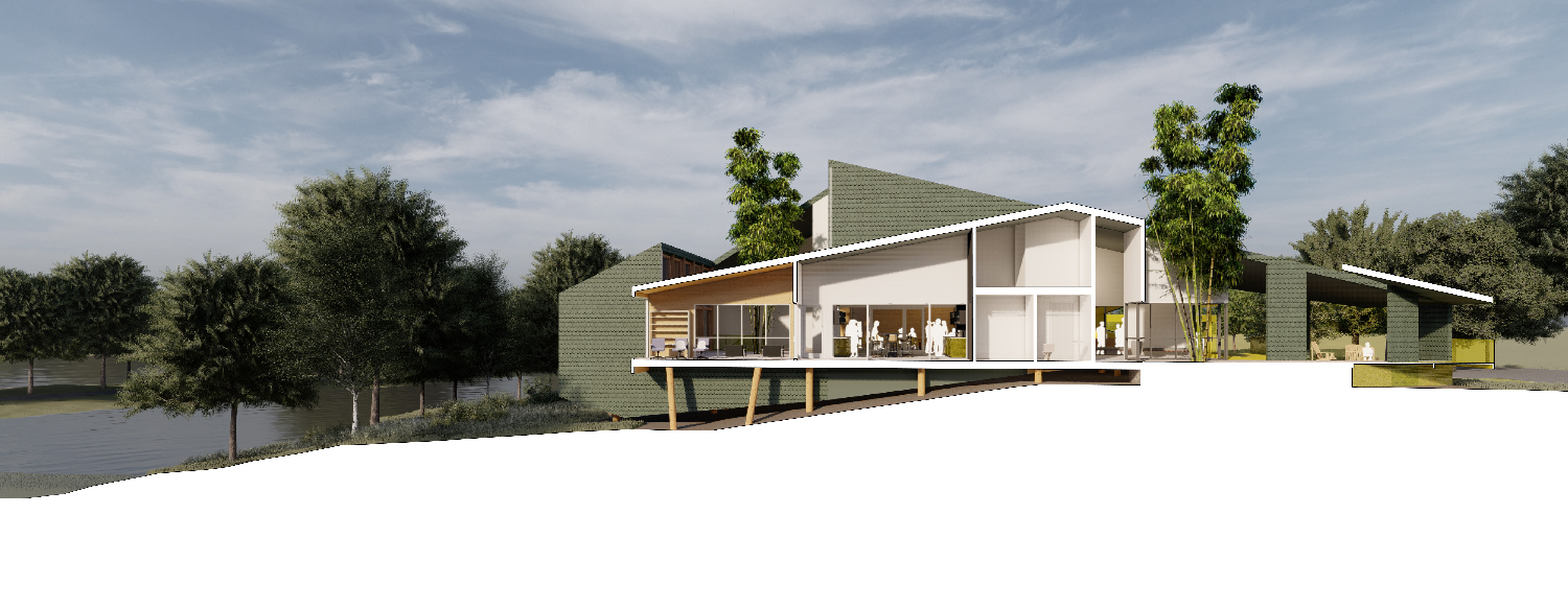 The sectional profile counterposes two gabled volumes responsive to internal program. University of Arkansas Community Design Center}