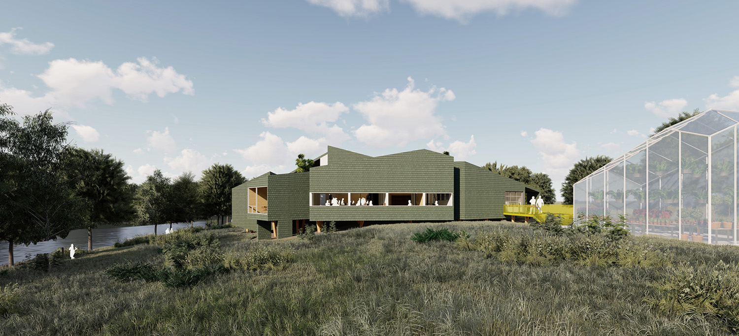 The ribbon window allows access to views of the natural landscape. University of Arkansas Community Design Center
