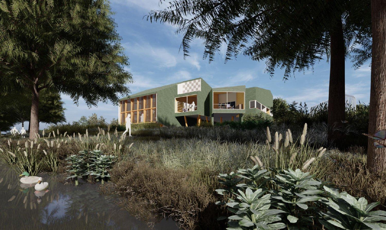 Shingles recall traditional Park Service standard green—a hallmark of sophisticated rustication. University of Arkansas Community Design Center
