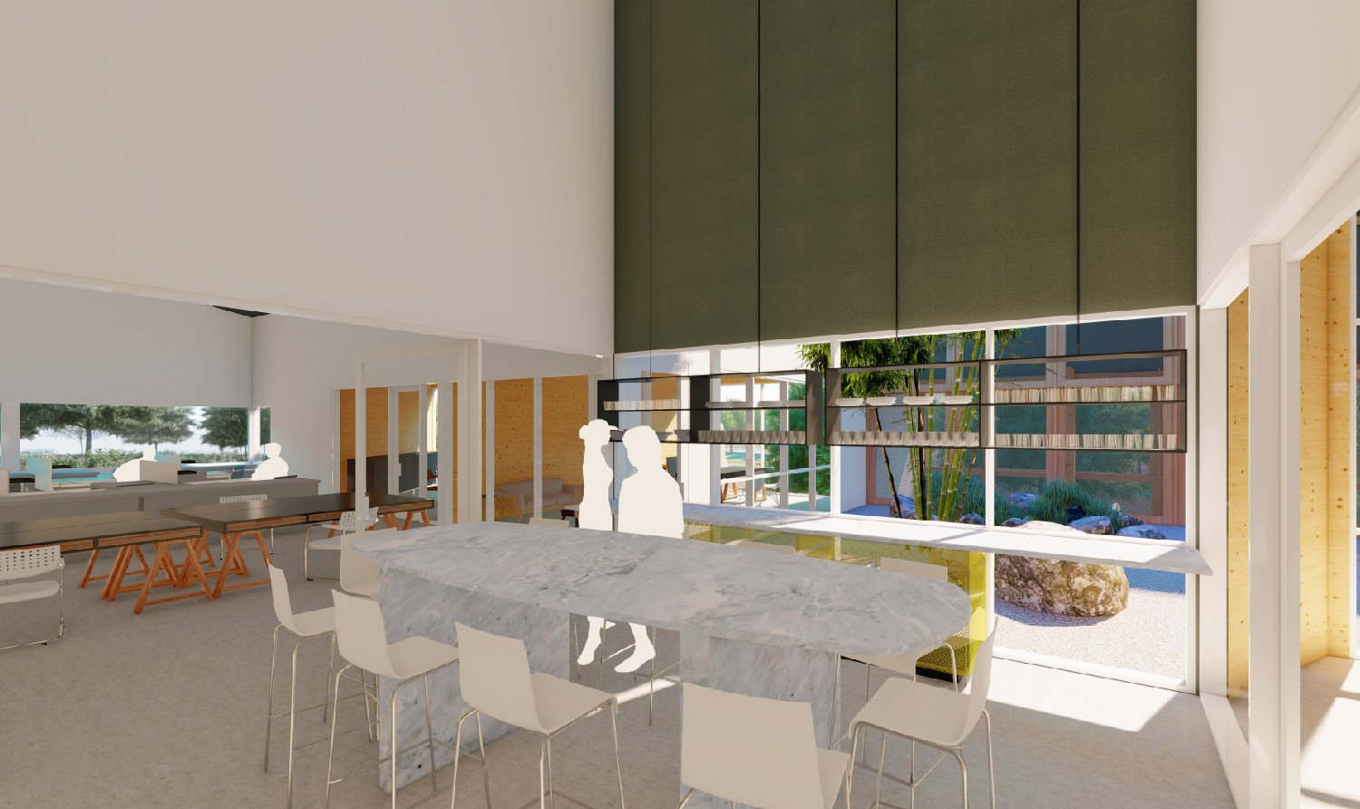 Interior spaces have equitable access to views, natural light and ventilation. University of Arkansas Community Design Center