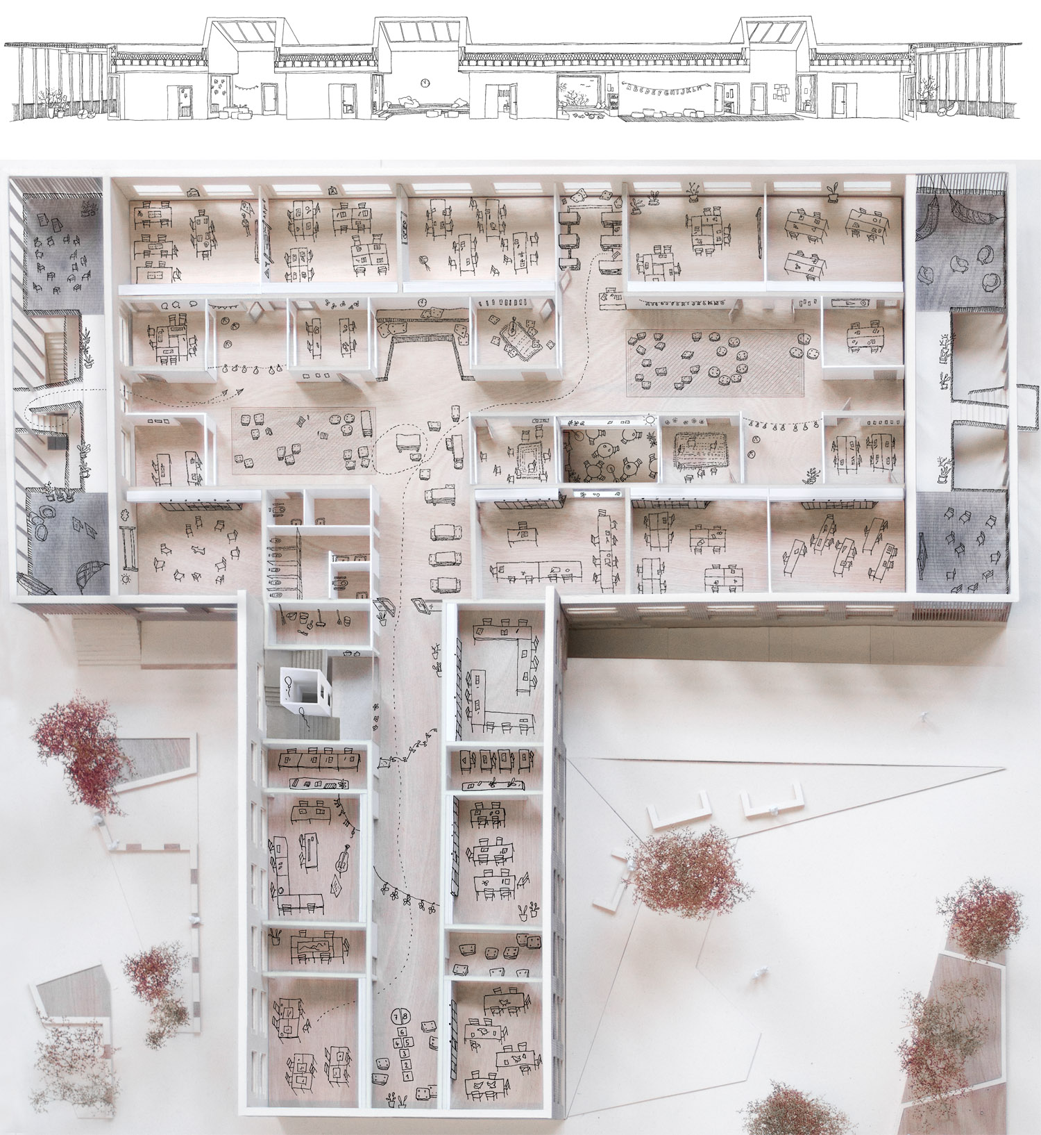 Model Floor Plan and Section Learning Landscape, First Floor Schenker Salvi Weber Architects}