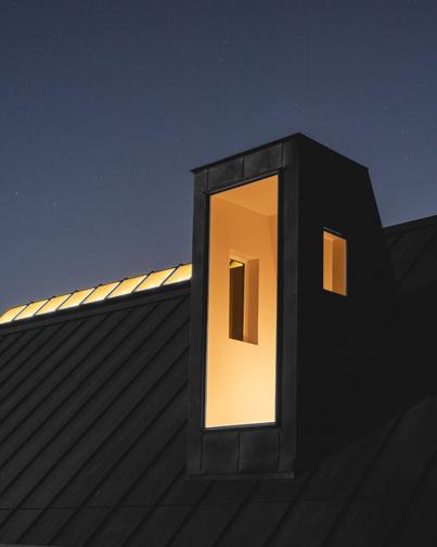 Little Tiger: Detail entry light monitor and ridge skylight at night Photo: Leonid Furmansky