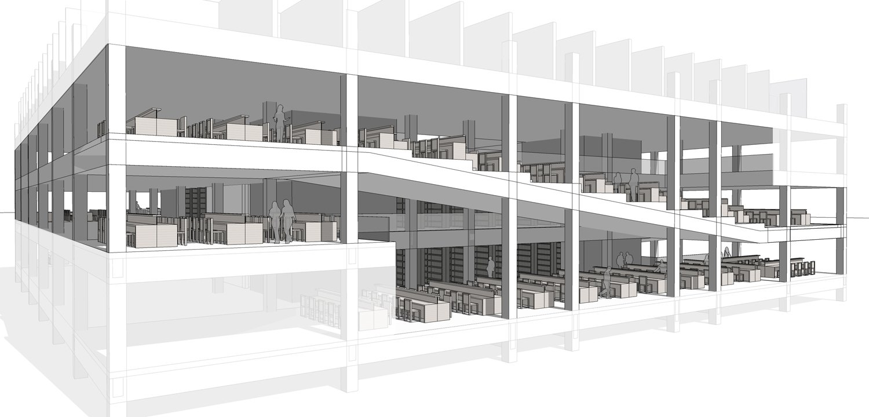 Section of In-ramp Reading Rooms Kokaistudios}