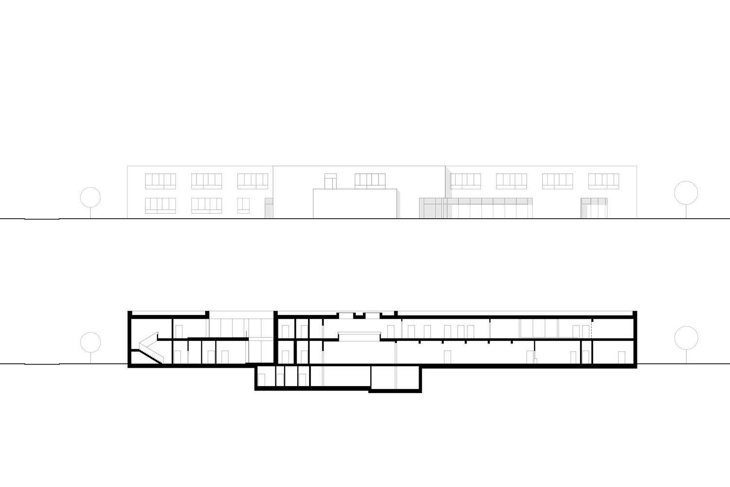 elevation south and section Rendering}