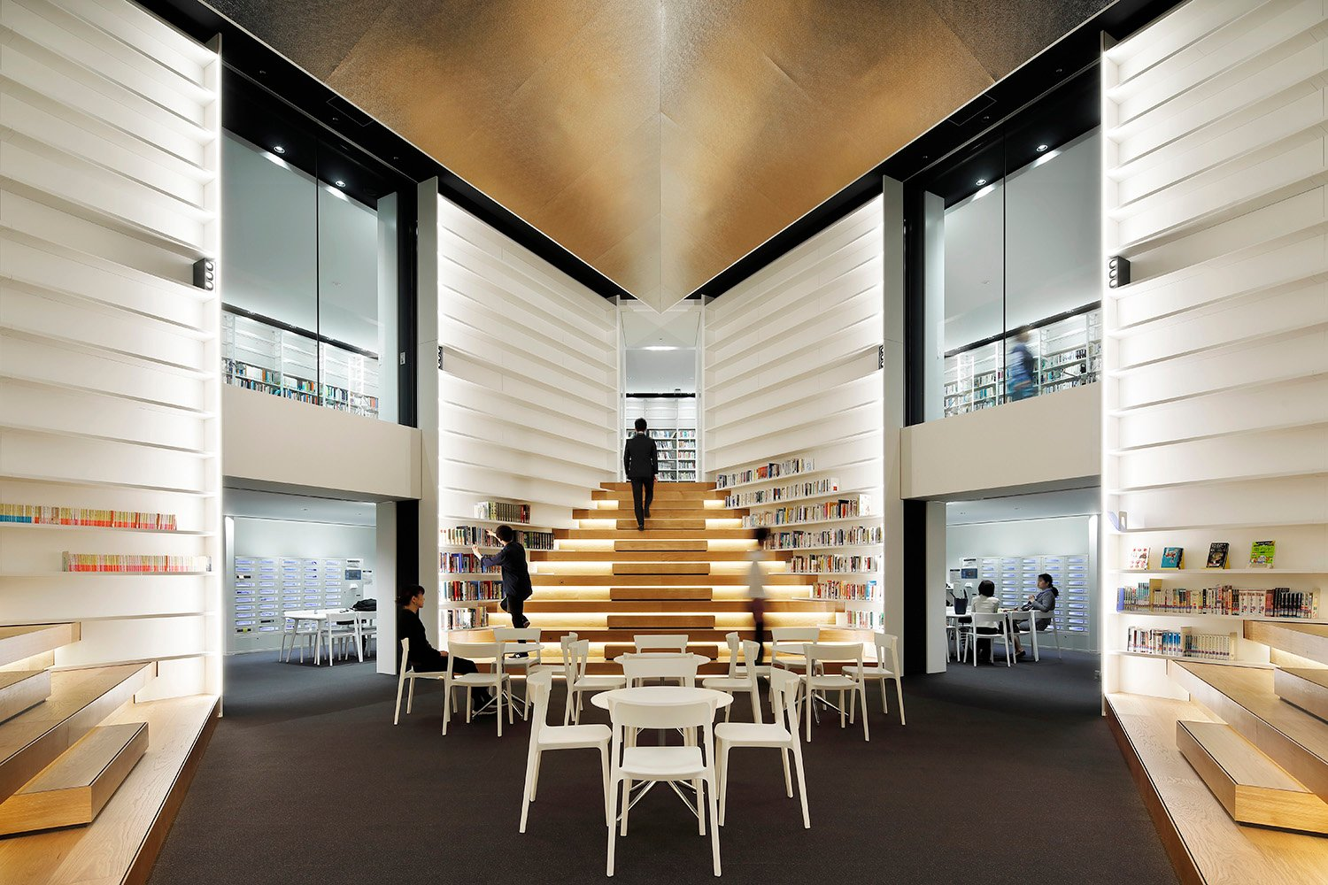 Library Interior.  The staircase can also be used as the stages for presentations Naoomi Kurozumi