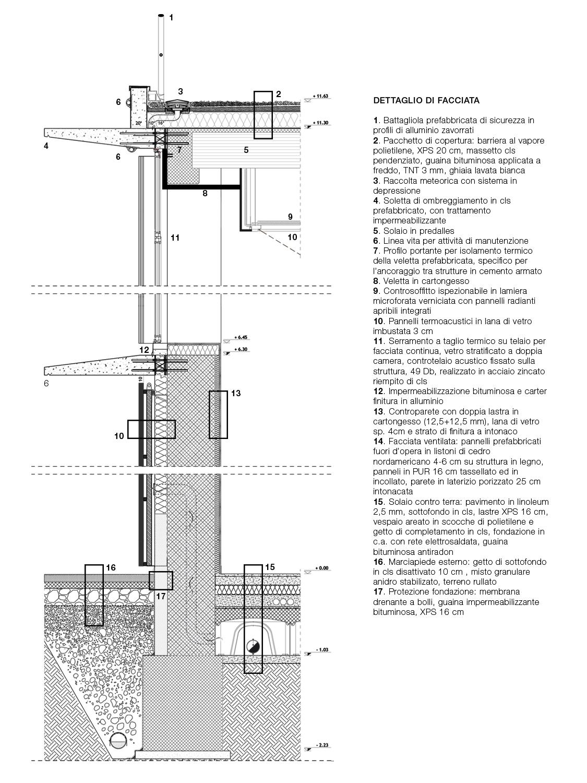Particolare di facciata con dettaglio stratigrafico Team di progettazione}
