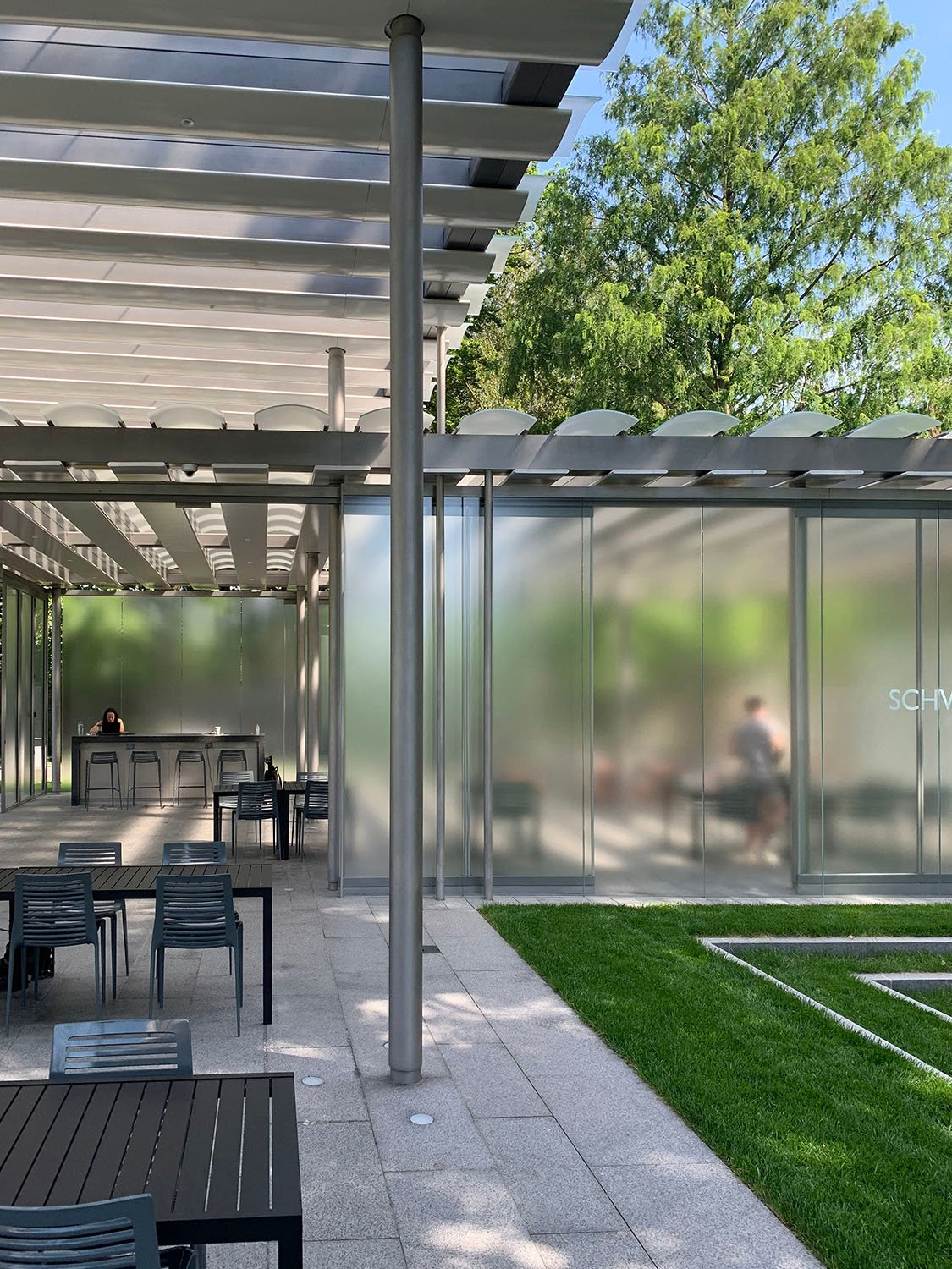 Providing a psychological awareness of the natural world, the pavilion is a receiving surface for the activity of the tree canopy and sky, while transmitting light and shadows into the pavilion James Carpenter, courtesy of James Carpenter Design Associates