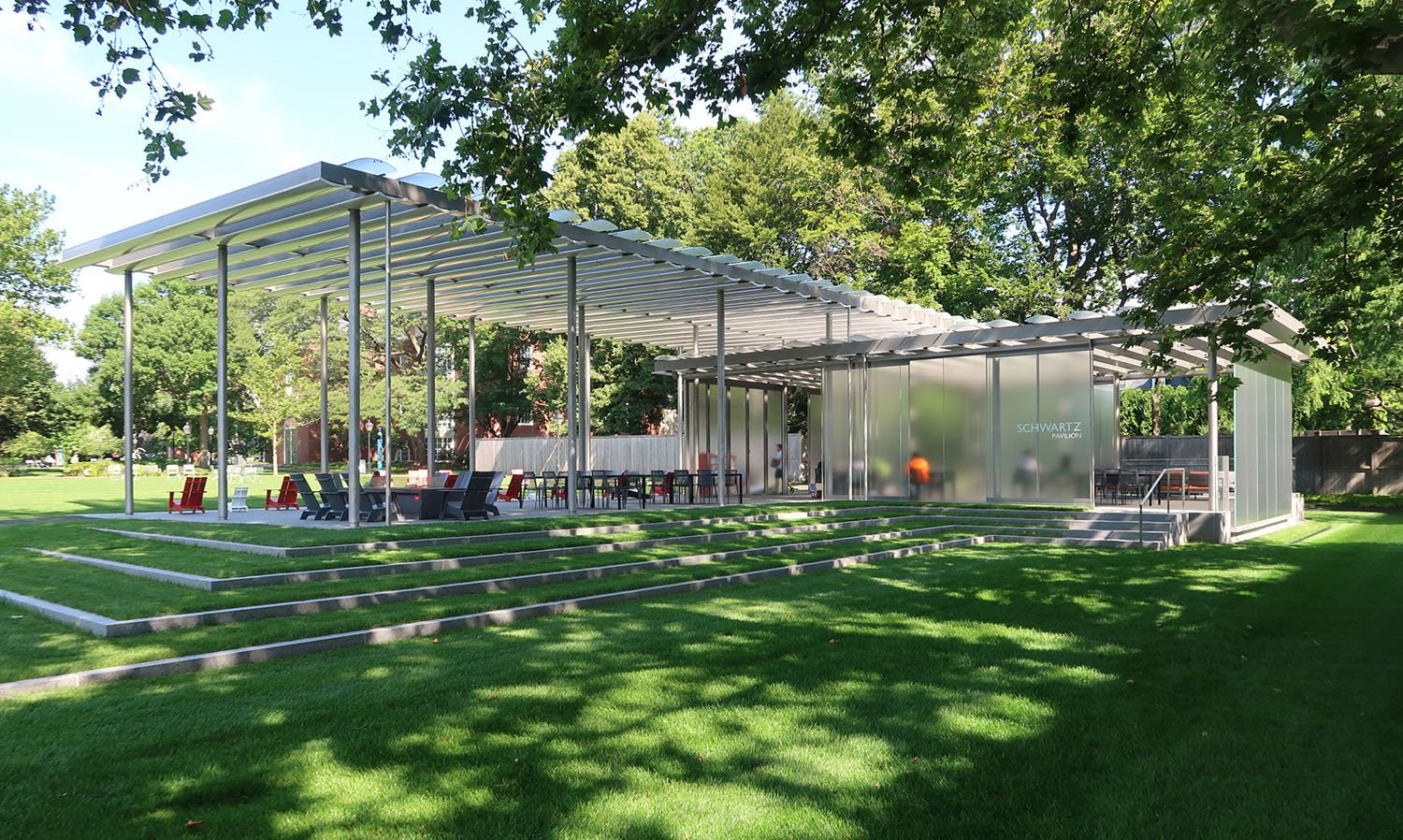 The pavilion has become the focal point for student engagement and activity within the newly renovated campus commons Richard Kress, courtesy of James Carpenter Design Associates
