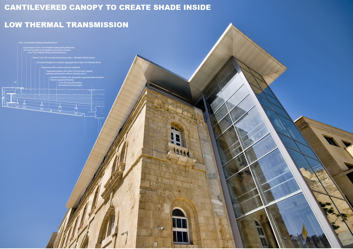 Cantilevered canopy Edwin Mintoff Architects & Alan Carville}
