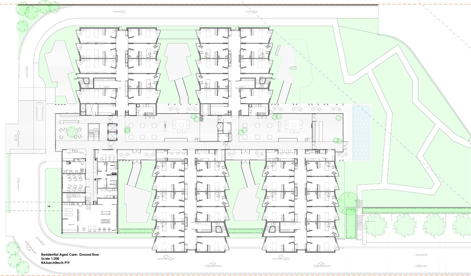 Residential Aged Care - ground floor plan RAAarchitects}