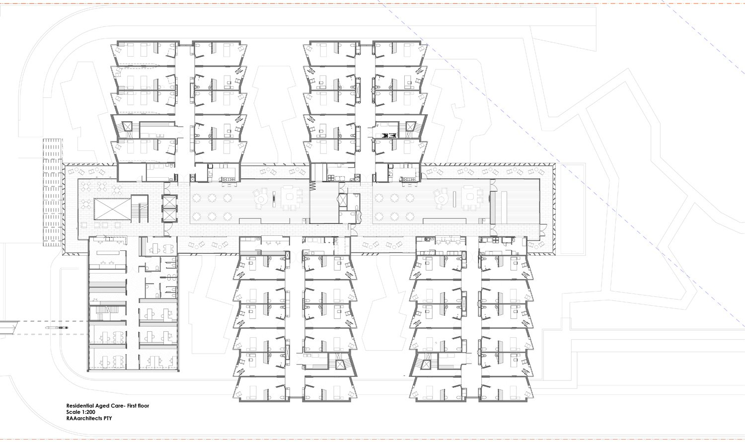 Residential Aged Care - first floor plan RAAarchitects}