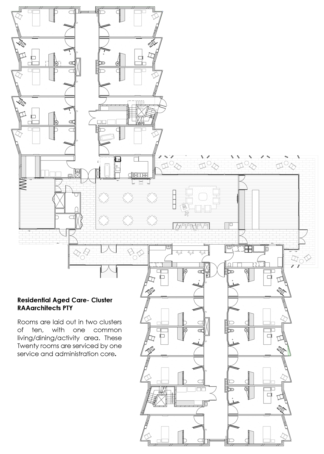 Residential Aged Care - Cluster - ground floor plan RAAarchitects}