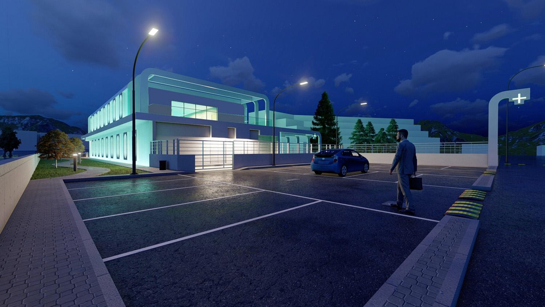 Public carpark by night SCA Architecture