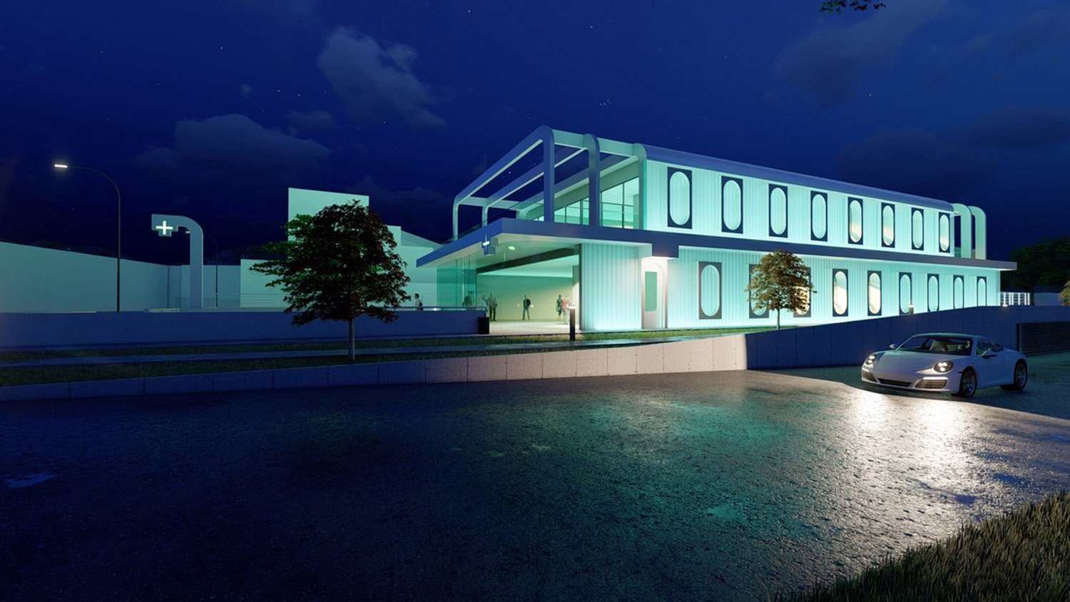 General view by night SCA Architecture