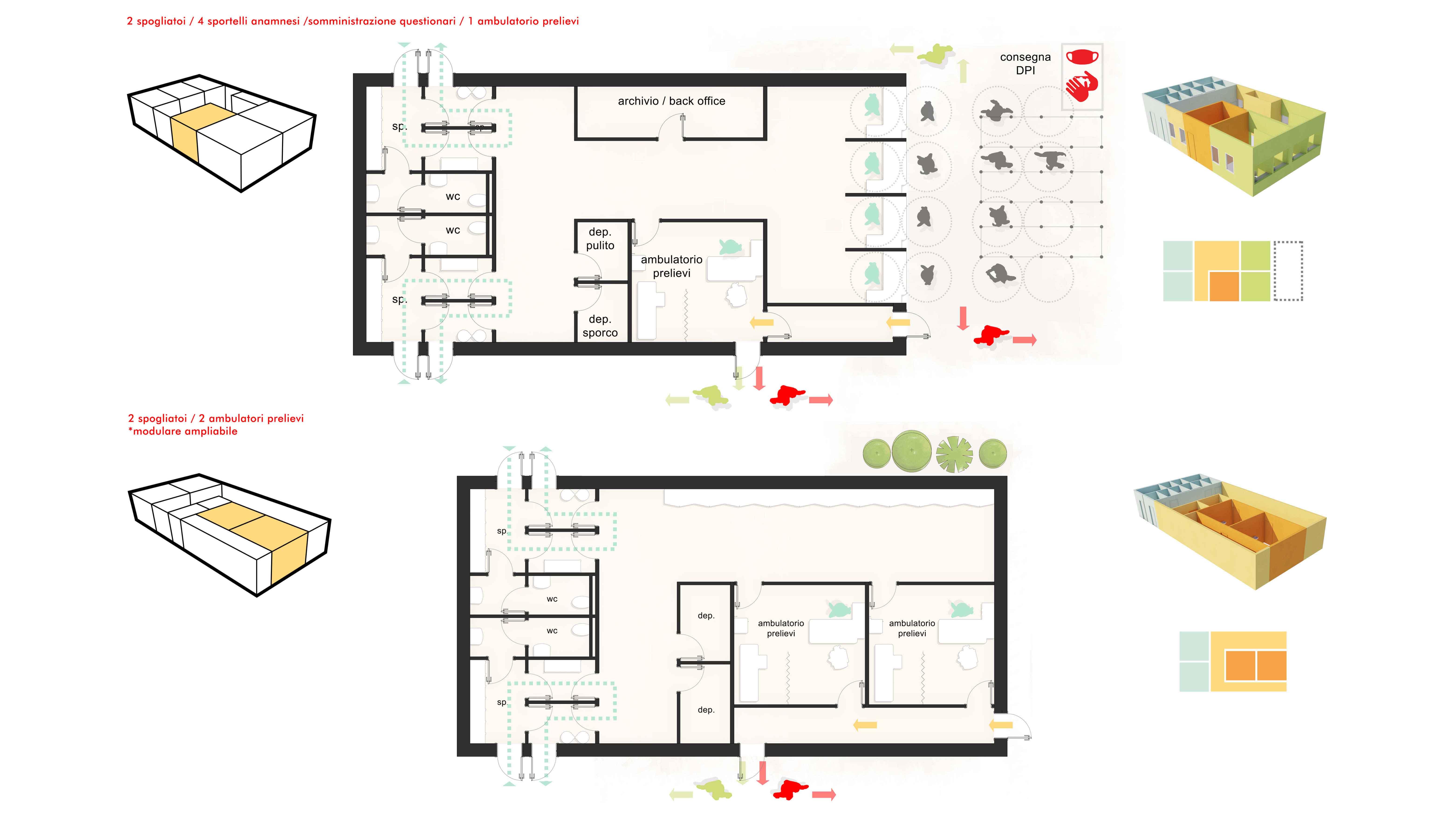 uSafe Lab - Distribuzione modulare: esempi di aggregazione di più elementi modulari Binini Partners - Archilinea}