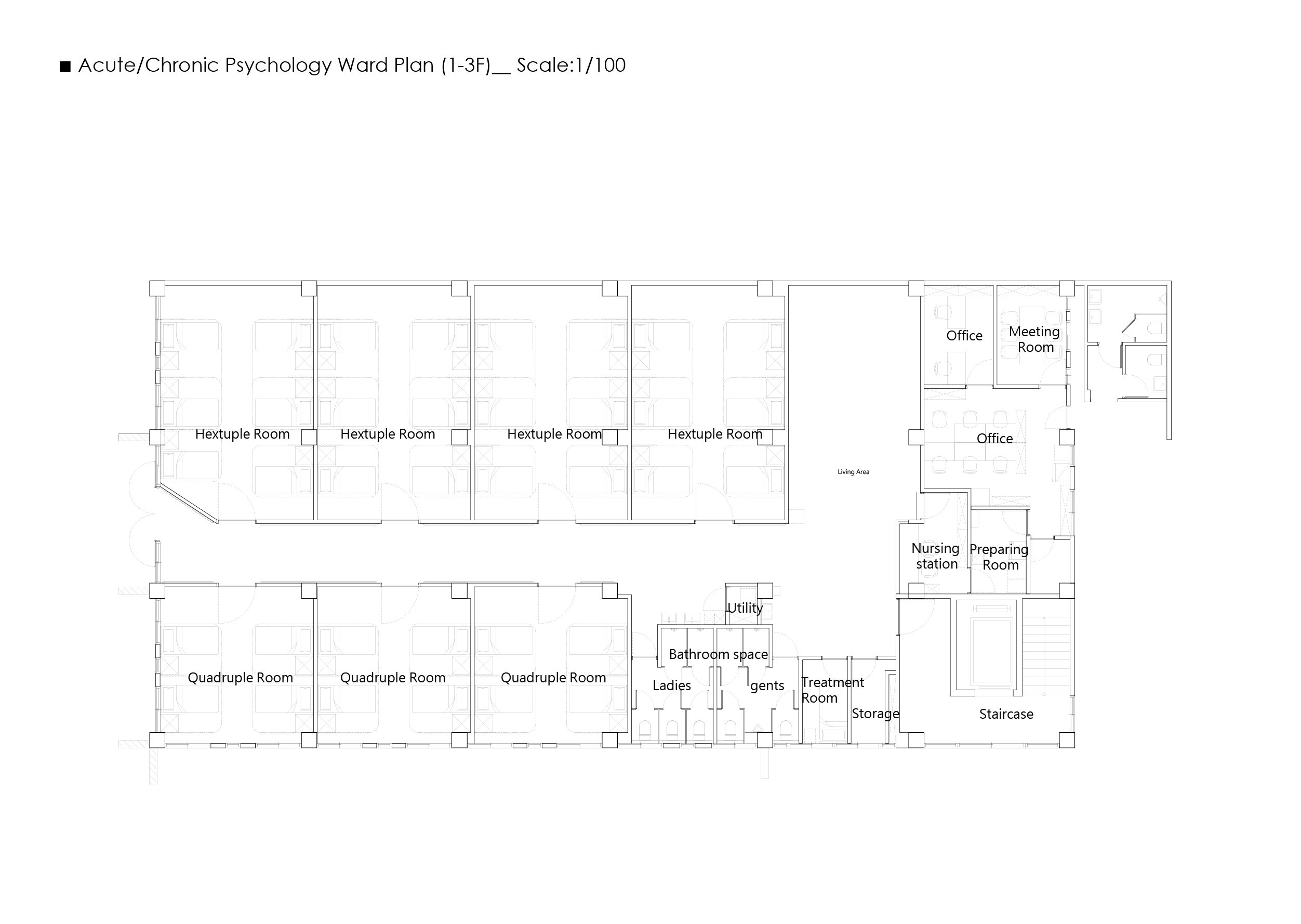11_Inpatient Building 1-3F Plan Wooyo Architecture}
