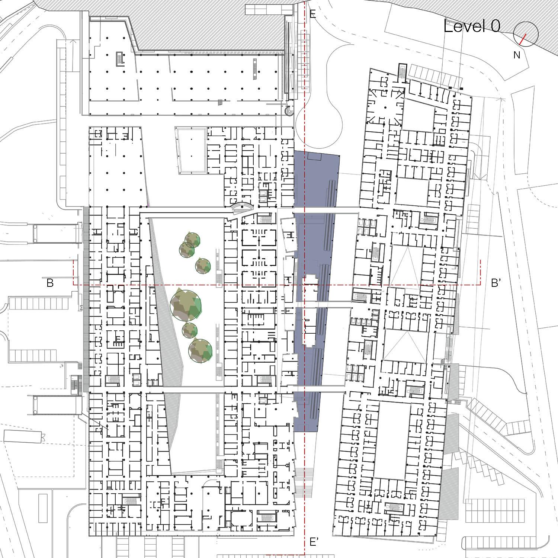Level 0 plan Aymeric Zublena (Scau Architecture-Paris), Ugo and Paolo Dellapiana (Archicura-Torino), Ugo Camerino (Venezia)}