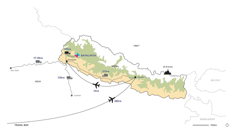 Nepal map with location of Bayalpata Hospital and travel times Sharon Davis Design}