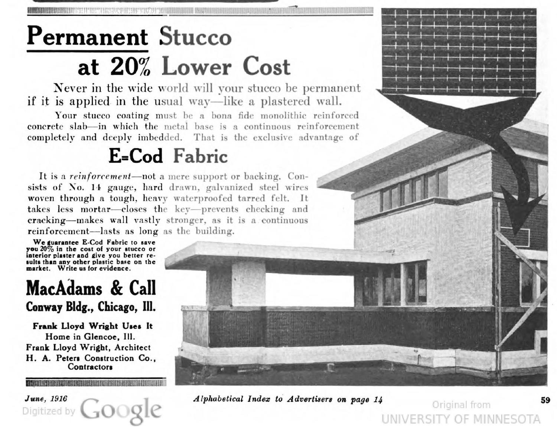 Magazine Ad Promoting Spray-On Stucco University of Minnesota}