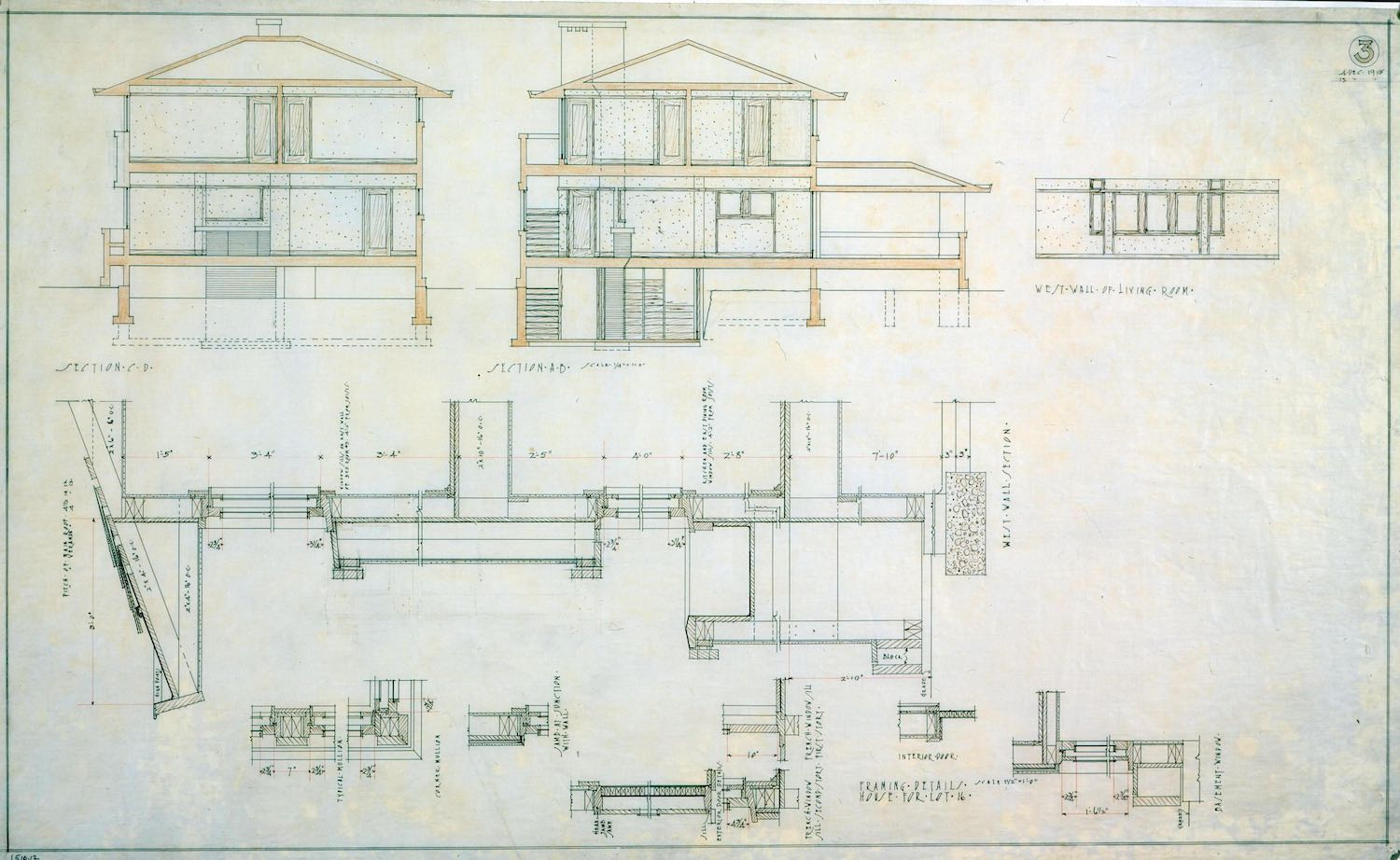 Original FLW Drawings showing Section and Details The Frank Lloyd Wright Foundation}