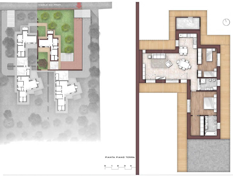 Brochure_Pianta piano terra Ville B photo © 2020 by GBA Studio srl / Gianluca Brini - Architetto Bologna - Via Andrea Costa 202/2 http://www.gbastudio.it/}