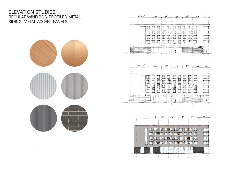 Elevations Studies, Regular Windows, Profiled Metal Siding, Metal Accents Panels Leers Weinzapfel Associates}