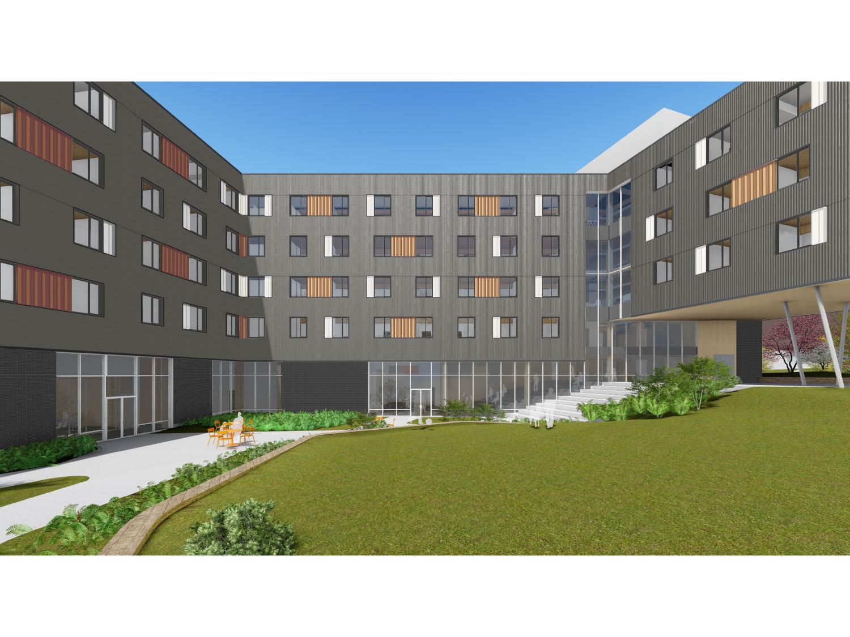 View from Pomfret to First Courtyard Rendering Leers Weinzapfel Associates}