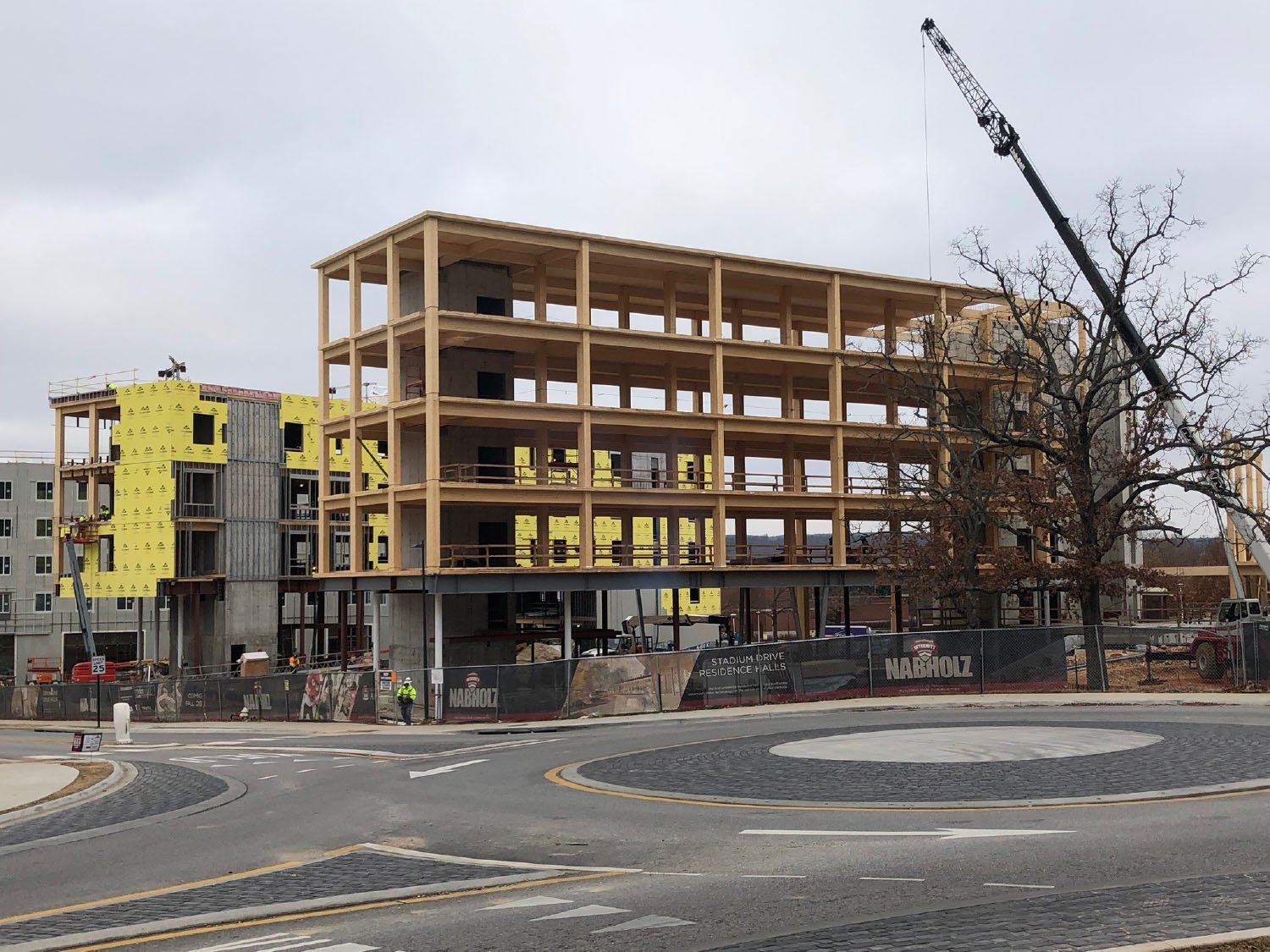 North Wing Framed, Middle Wing Partially Sheathed, South Wing Clad Leers Weinzapfel Associates}