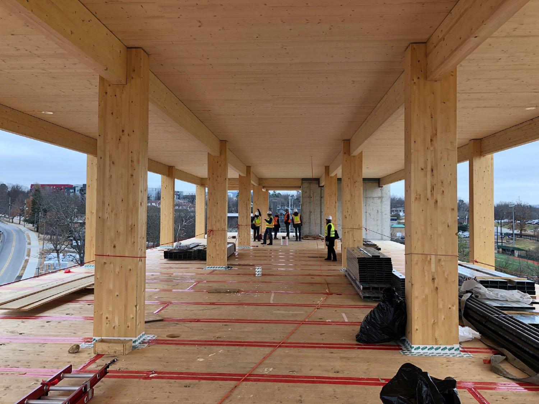 Inside Construction  Beams and CLT Panels Leers Weinzapfel Associates}