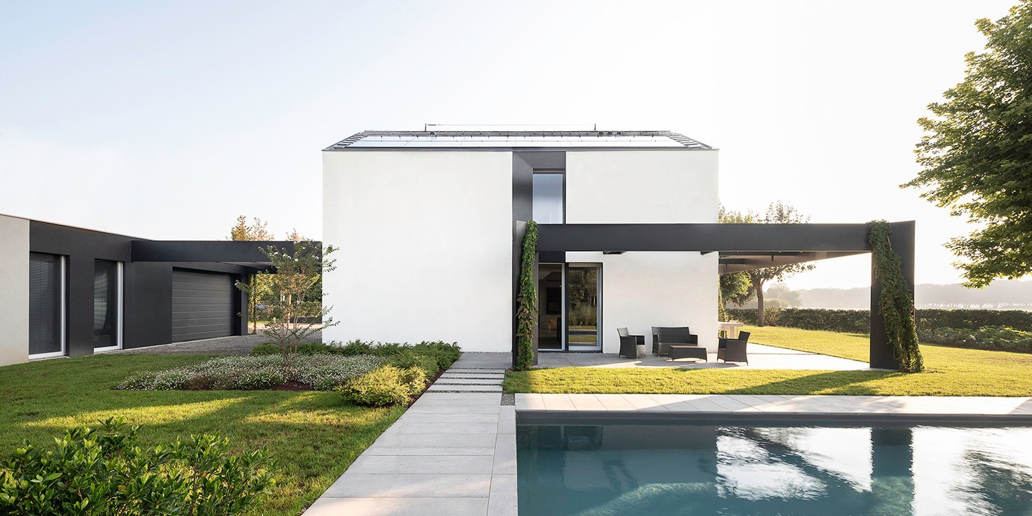 Garden Facade - West: Swimming pool towards fruit trees garden and orchard Filippo Poli Photography