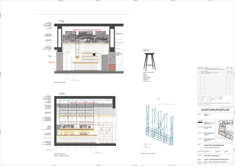 Hotel Triest Bar + Hanging Shelf BEHFArchitects}
