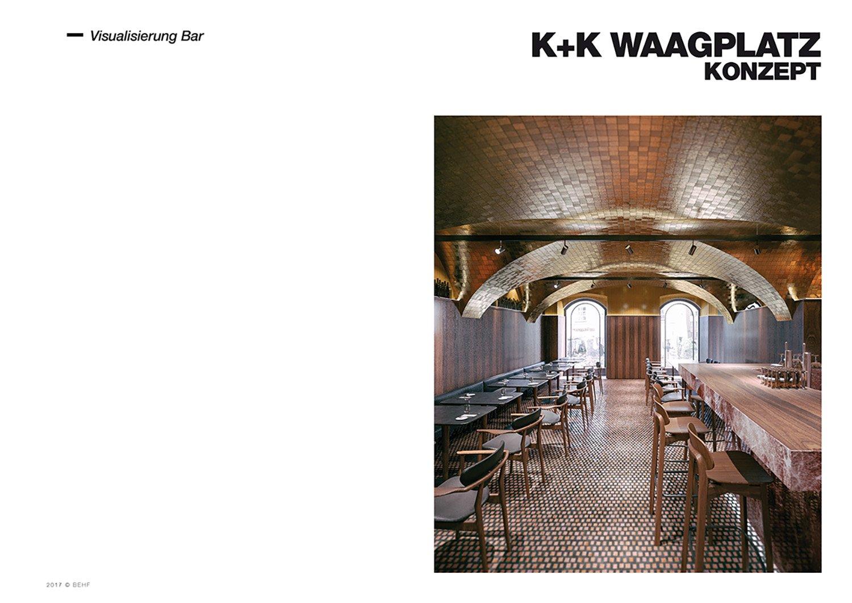 Restaurant Koller und Koller am Waagplatz Rendering Bar BEHF Architects}