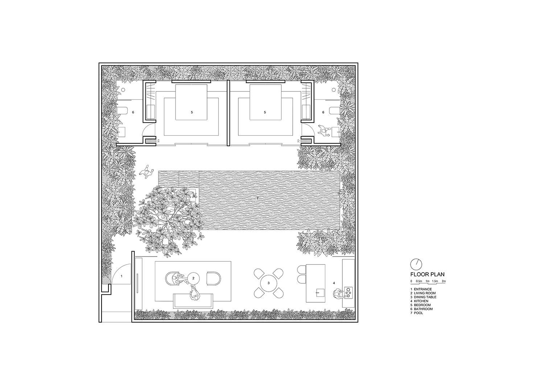 Floor plan for 2-bedroom villa Nguyen Tan Phat}