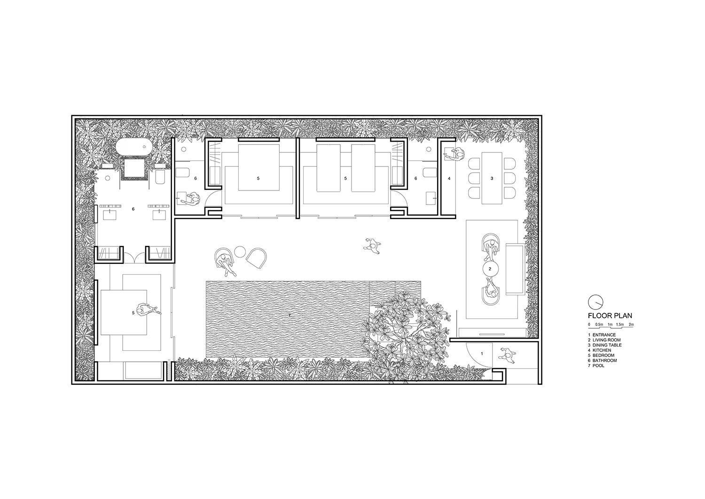 Floor plan for 2-bedroom villa_text Nguyen Tan Phat}