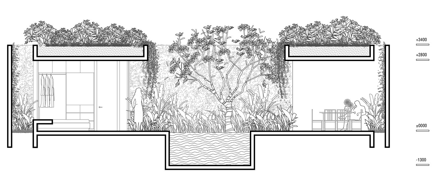 Section for 2-bedroom villa_draw Nguyen Tan Phat}