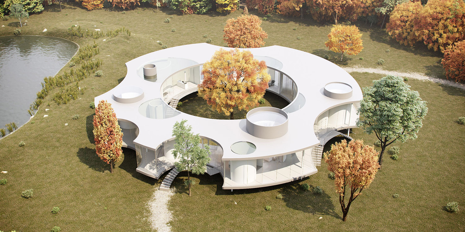 Aerial view in the fall Eco Arch-Viz Studio