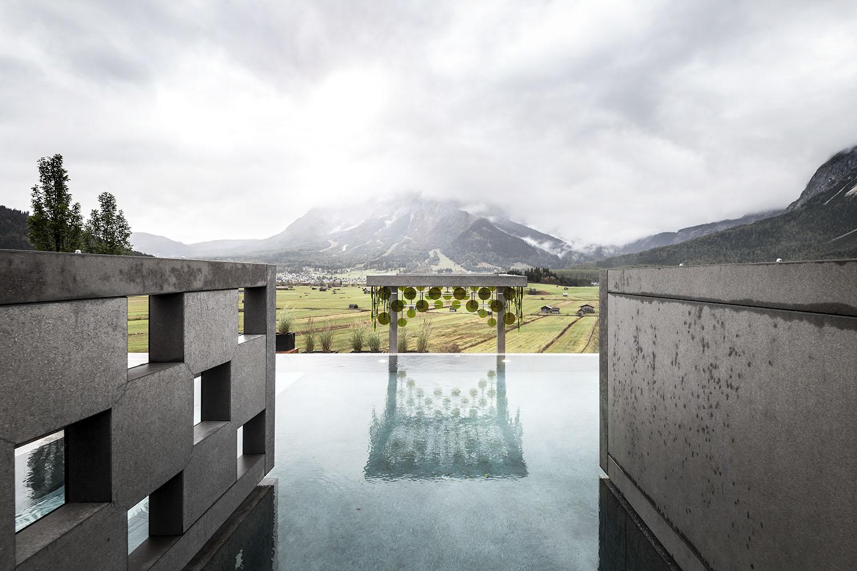 Vista dello Zugspitze dalla piscina all'aperto Alex Filz