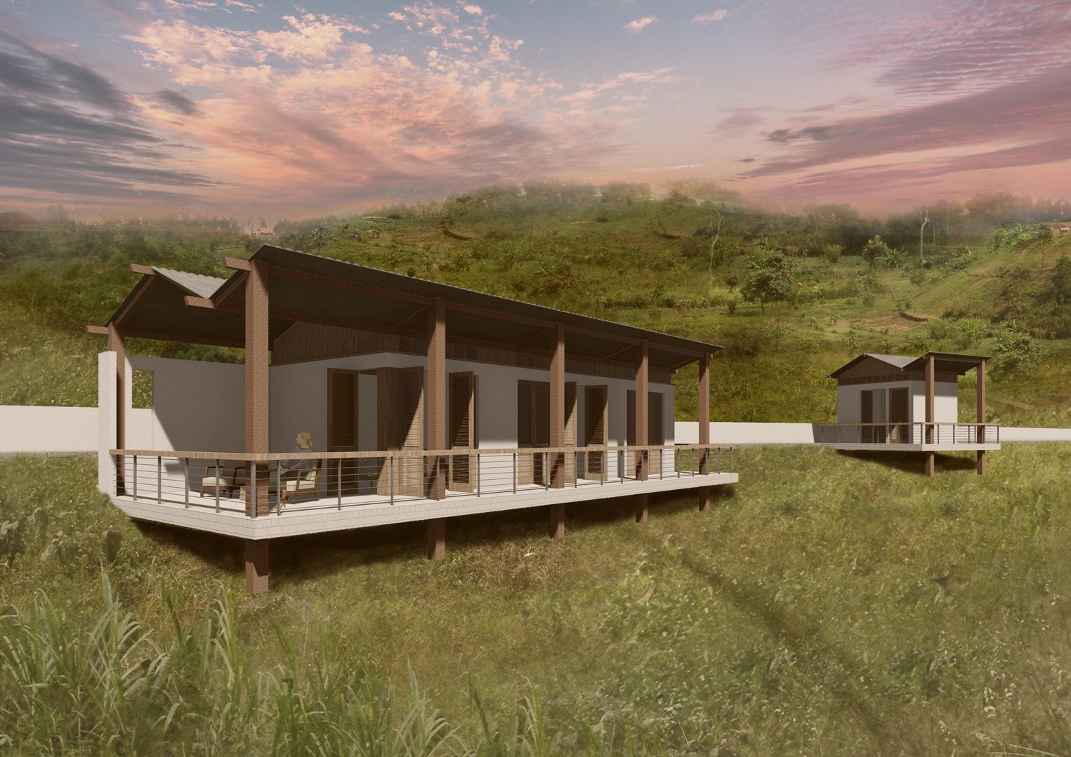 Bungalows Evening Rendering SPG Architects