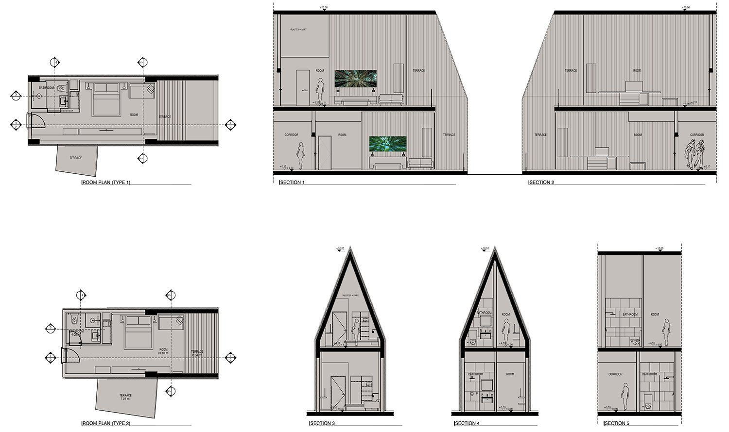 Voronet Lila Hotel typical room plans and sections Yazgan Design Architecture}