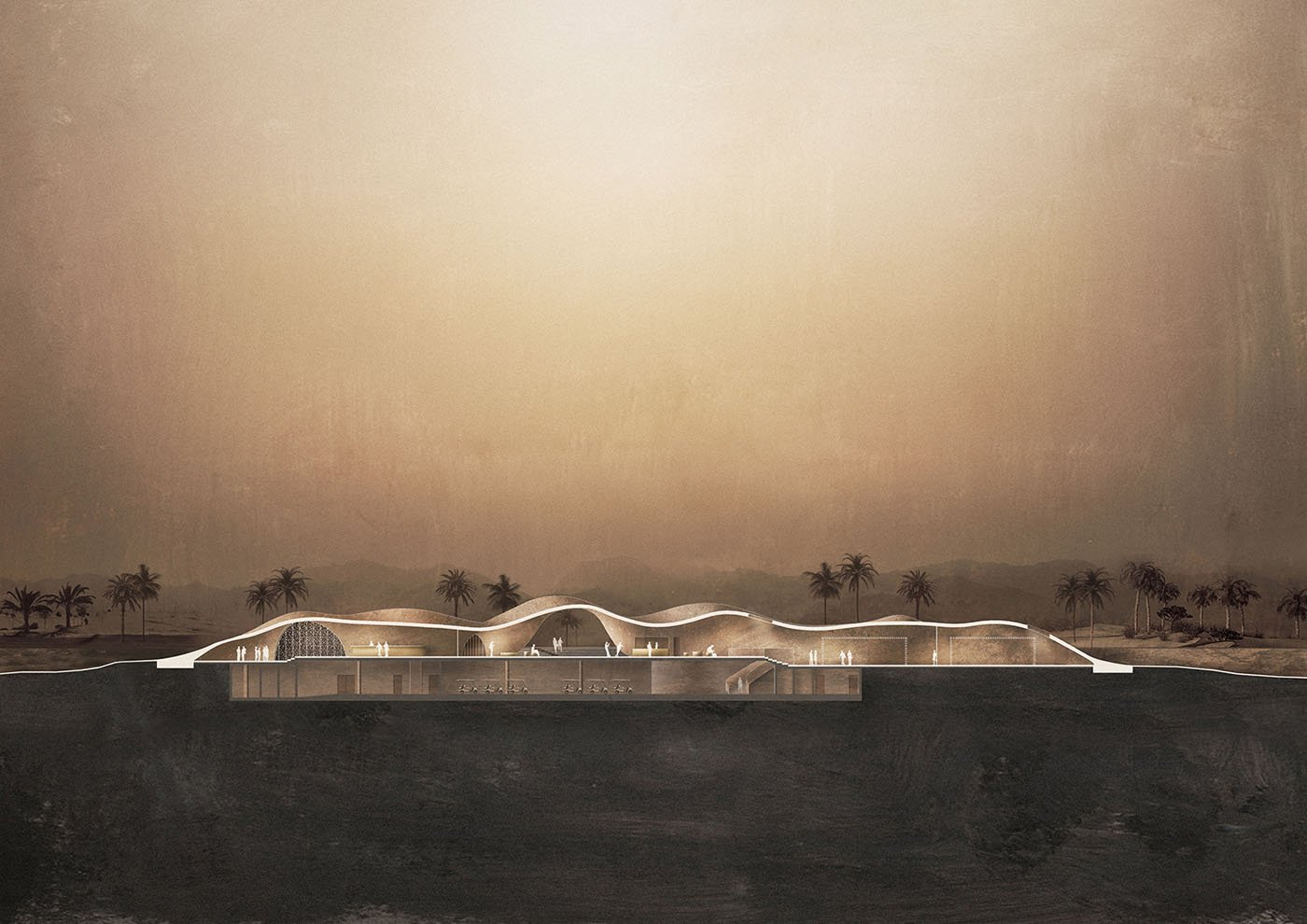 Clubhouse longitudinal section Oppenheim Architecture}
