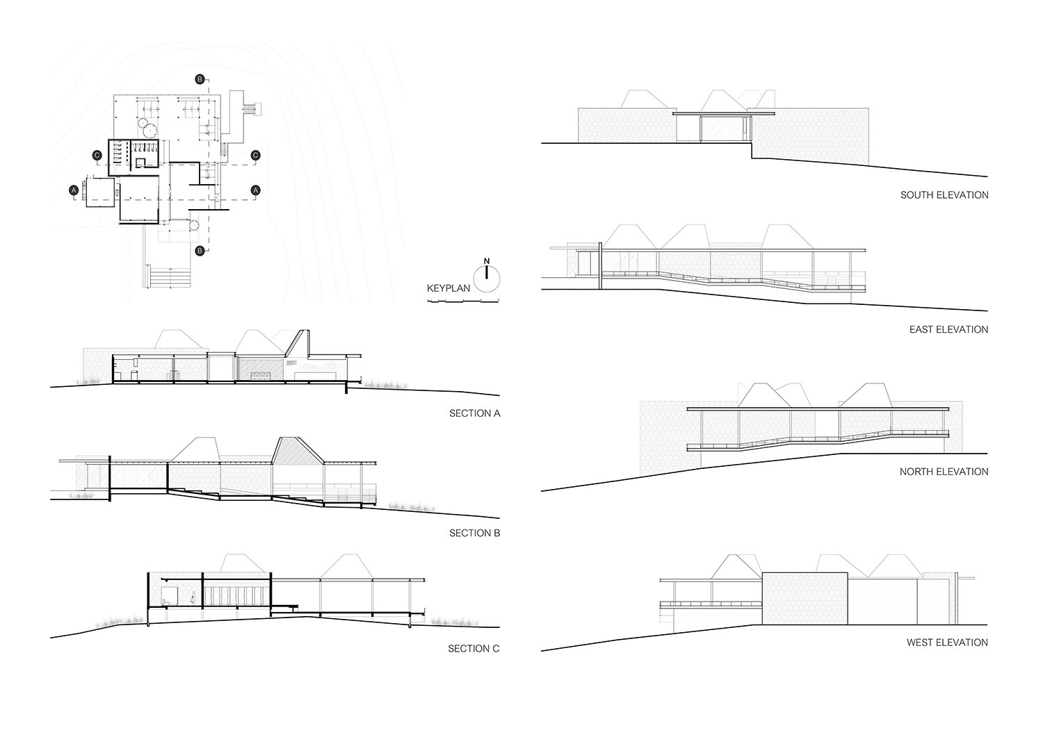The key plan, the sections, and the elevations IDIN Architects}