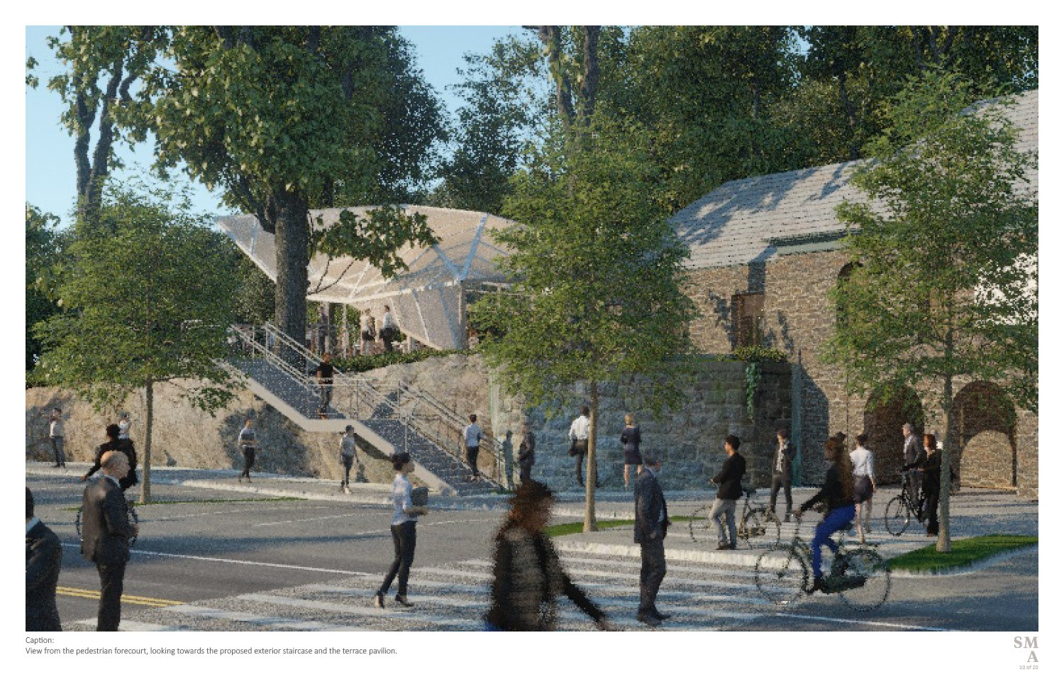 View from the pedestrian forecourt, looking towards the proposed exterior staircase and the terrace pavilion. SMA | Stephen Moser Architect - Design Team