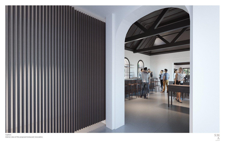 Interior view of the proposed restaurant renovation. SMA | Stephen Moser Architect - Design Team