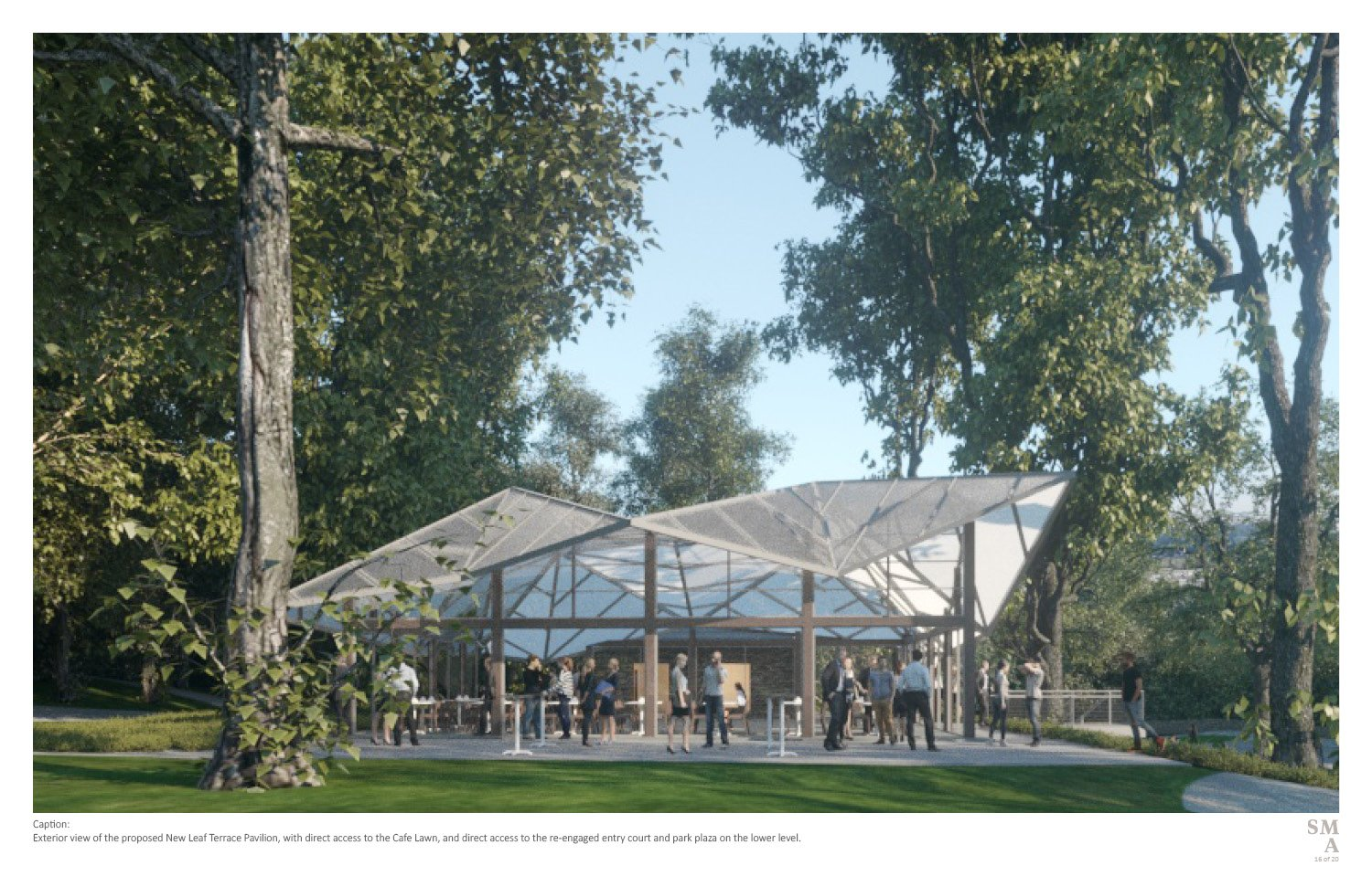 Exterior view of the proposed New Leaf Terrace Pavilion, with direct access to the Cafe Lawn, and direct access to the re-engaged entry court and park plaza on the lower level. SMA | Stephen Moser Architect - Design Team