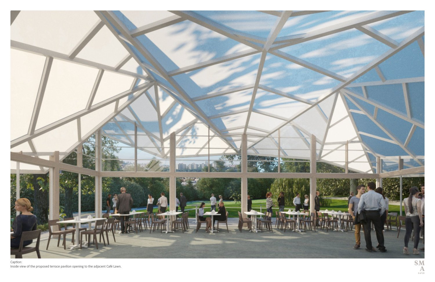 Inside view of the proposed terrace pavilion opening to the adjacent Café Lawn. SMA | Stephen Moser Architect - Design Team