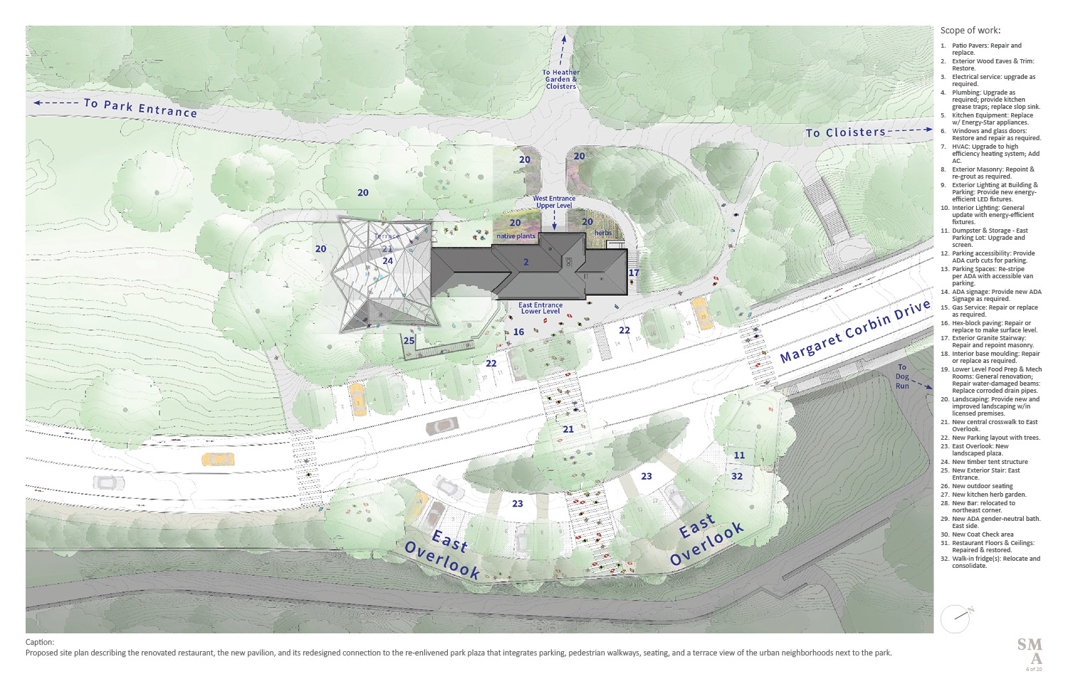 Proposed site plan describing the renovated restaurant, the new pavilion, and its redesigned connection to the re-enlivened park plaza that integrates parking, pedestrian walkways, seating, and a terrace v SMA | Stephen Moser Architect - Design Team}