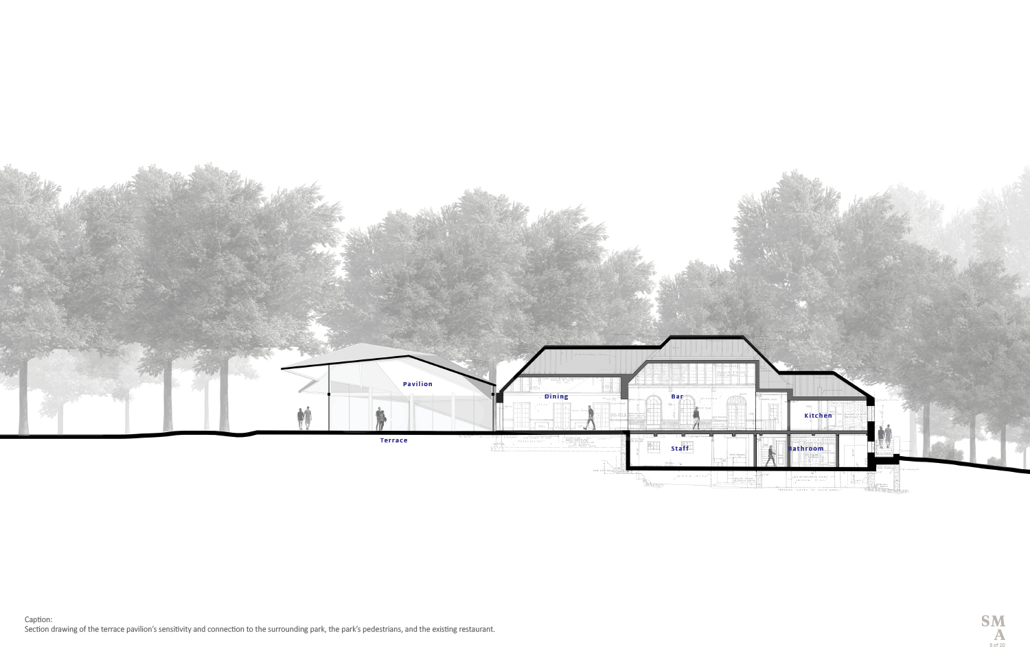 Section drawing of the terrace pavilion's sensitivity and connection to the surrounding park, the park's pedestrians, and the existing restaurant. SMA | Stephen Moser Architect - Design Team}