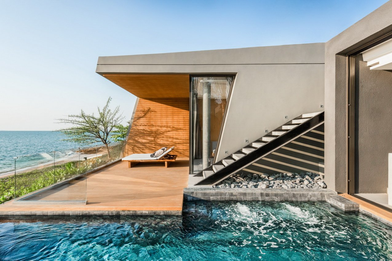 Beachfront pool villa with its stair access from the roof level. Wara Suttiwan